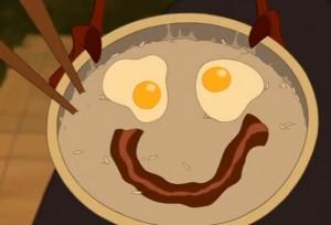Mulán Huevos con bacon